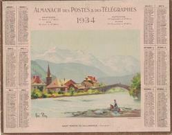 ALMANACH DES POSTES 1934 - FORMAT LIVRET CARTONNE SIMPLE- INCOMPLET VERSO JUSTE LES MAREES- DEPARTEMENT LOIRE INFERIEURE - Calendars