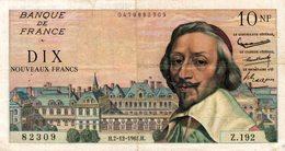 9828  -2018   BILLET FRANCAIS 10NF RICHELIEU   7-12-1961 - 10 NF 1959-1963 ''Richelieu''