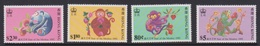 Hong Kong Scott 615-618 1992 Year Of The Monkey, Mint Never Hinged - Hong Kong (...-1997)