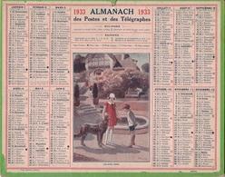 ALMANACH DES POSTES 1933 - FORMAT LIVRET CARTONNE DOUBLE- COMPLET AVEC CARTE - DEPARTEMENT DE LA SEINE - Calendars