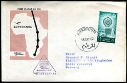 07301) Sudan - Mi 178 - Lufthansa Erstflug 16.05.1962 - LH 701 Mit Boeing 720B - Khartoum Nach Fankfurt A.M. - Sudan (1954-...)
