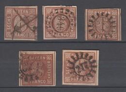 Bayern , Lot Mit 5 X Nr 4 , Dabei Einmal Type I , Federzug - Bavaria