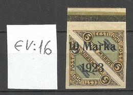 Estonia Estland 1923 Michel 43 B ERROR Variety Abart EV: 16 * - Estland