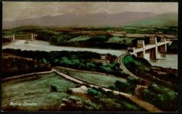 Ref 1253 - 1925 Postcard - Menai Straits & Bridge - Caernarvonshire Wales - Caernarvonshire