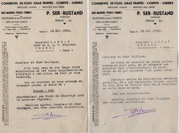 VP13.782 - 2 Lettres - Conserves De Foies Gras Truffés - Confits - Gibiers .....P. SER - RUSTAND à FIGEAC ( Lot ) - Alimentaire