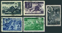 Russia 947-951,CTO.Michel 922-924,930-931. WW II Heroes,1944.Polivanova,Safonov. - WW2
