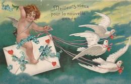 Anges : Gaufrée : Anges Et Colombes Porteur De Message ( Nouvel An ) Attention Déchirure Haut Gauche 1cm - Angels