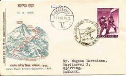 India FDC 15-8-1965 Indian Mount Everest Expedition With Cachet And Sent To Denmark - FDC