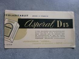 Asperal D15, Chocoladetablet (vloeipapier, Niet Gebruikt) - Chocolat