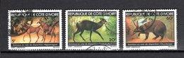 COTE D'IVOIRE  N° 501 à 503   OBLITERES   COTE 2.00€      ANIMAUX - Côte D'Ivoire (1960-...)