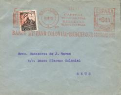 Ø 27 Más Franqueo Mecánico, En Carta Circulada A Reus, El 12/10/1942. - Barcelona