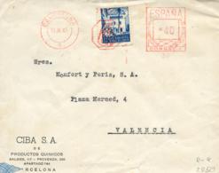 Ø 65 Más Franqueo Mecánico En Carta Circulada A Valencia, El Año 1945. - Barcelona