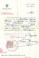 TARRAGONA. Salvoconducto Emitido Por La Alcaldía De Vendrell, El 8/8/39. Con Viñeta Subsidio Al Combatiente De 1 Pta. - Verschlussmarken Bürgerkrieg
