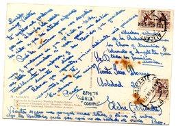 Tarjeta Postal  Con Matasellos Alicante Y Sellos De Mutualidad Postal. - 1931-Hoy: 2ª República - ... Juan Carlos I