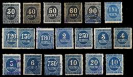 Impuesto De Guerra. 19 Sellos Diferentes Color Negro Y Azul. Mayoría Usados. Alguno Tiene Defectos. Examinar. - Fiscales