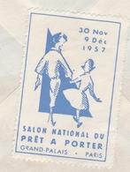 Vignette Salon Du Prêt à Porter Paris Grand-Palais 1957 - Au Dos D'une Lettre - Textile Habillement - 3 Scans - Erinnophilie