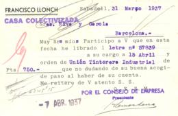 """1937. Tarjeta De Sabadell A Barcelona. Al Dorso """"CASA COLECTIVIZADA"""" Lineal En Violeta. Rara. Ex Col. Félix Gómez Guilla - 1931-Hoy: 2ª República - ... Juan Carlos I"""