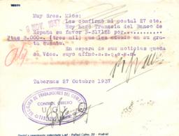 """1937. Tarjeta De Tabernas(Almería) A Barcelona. Marca Al Dorso """"SECCIÓN DE TRABAJADORES DEL COMERCIO/CONTROL OBRERO UGT/ - 1931-Hoy: 2ª República - ... Juan Carlos I"""