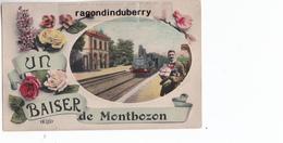 CPA - 70 - MONTBOZON - Arrivée Du TRAIN En GARE (Fantaisie Légende Un Baiser De MONTBON) Voy 1909 - CARTE RARE - - Gares - Avec Trains