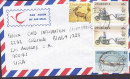Zimbabwe Airmail MUTARE 1994 Cover Brief United States $1 Aeroplane Flugzeug 45c. Transport Motorrad 5c. Greater Kudu - Zimbabwe (1980-...)