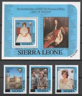 Sierra Leone 1985 Mi# 841-43+ Bl.36** PRINCESS DIANA, 21st BIRTHDAY - Sierra Leone (1961-...)