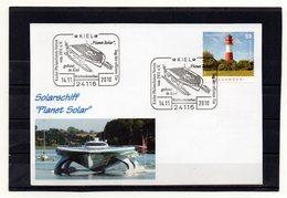 """Deutschland, 2010, Karte Mit Michel 2801 Und Sonderstempel, Solarschiff """"Planet Solar"""" - Brieven"""