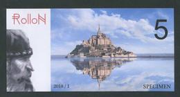 """Billet Fantaisie Normandie - Edition Privé """"Spécimen 5 Rollon / Mont Saint Michel / Pont De Normandie / 2018"""" - Fictifs & Spécimens"""