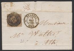 Médaillon - N°6 Sur LAC Obl D8 çàd Beloeil 17/5/60 Vers Ath. Superbe Frappe ! - 1851-1857 Médaillons (6/8)