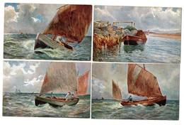 """LOT 5 CPA - Illustrateur Raphael TUCK & Sons """"OILETTE"""" - Pêche - Pêcheur - Bateau - Barque - Tuck, Raphael"""