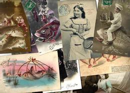 Lot N° 1553 De 10 CPA 9 X 14 Poisson D'avril Premier Avril Déstockage Pour Revendeurs Ou Collectionneurs - Cartes Postales
