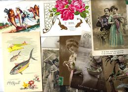 Lot N° 1556 De 10 CPA 9 X 14 Poisson D'avril Premier Avril Déstockage Pour Revendeurs Ou Collectionneurs - Postales