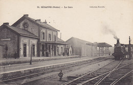 SEZANNE (Marne) La Gare Train à Vapeur - Chemin De Fer - Sezanne