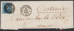 Médaillon - N°7 Touché Sur LAC Obl D43 çàd Oostvleteren 13/2/58 Vers Oostende. TB Frappe ! - 1851-1857 Médaillons (6/8)