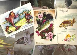 Lot N° 1557 De 10 CPA 9 X 14 Poisson D'avril Premier Avril Déstockage Pour Revendeurs Ou Collectionneurs - Postales