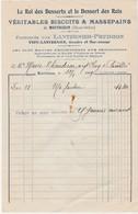 Petite Facture 1909 / Lanternier Prudhon / Vidy / Buscuits & Massepains / Montbozon 70 - France