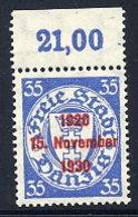 DANZIG 1930 10th Anniversary Of Free City Overprint On 35 Pfg.MNH / **. Michel 226 - Danzig