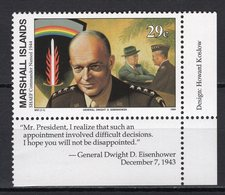 MARSHALL ISLANDS  - 1994 History Of The Second World War - Appointment Of General Dwight D. Eisenhower As Commandr  M609 - Marshall