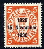 DANZIG 1930 10th Anniversary Of Free City Overprint On 5 Pfg.MNH / **. Michel 220 - Danzig