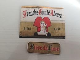Ancienne Étiquette BIÈRE FRANCHE COMTÉ D'ALSACE BIÈRE LUXE - Bière