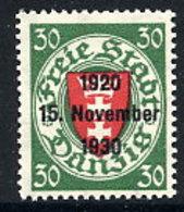 DANZIG 1930 10th Anniversary Of Free City Overprint On 30 Pfg.MNH / **. Michel 225 - Dantzig