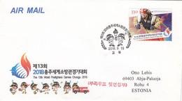 GOOD SOUTH KOREA FDC To ESTONIA 2018 - Firefighters Games - Corée Du Sud