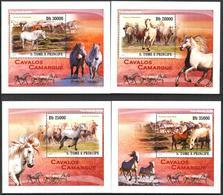 {020} Sao Tome & Principe 2010 Horses 4 S/S Deluxe MNH** - São Tomé Und Príncipe