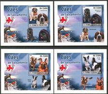 {025} Sao Tome & Principe 2008 Dogs 4 S/S Deluxe MNH** - São Tomé Und Príncipe