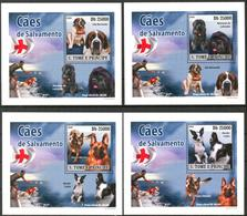 {025} Sao Tome & Principe 2008 Dogs 4 S/S Deluxe MNH** - Sao Tome And Principe