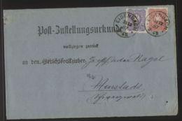 Dt. Reich - MiNr. 41 + 42 Als MiF Auf Post-Zustellungsurkunde - Gelaufen EISENBACH 31.12.1887 - Covers & Documents