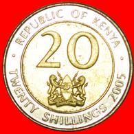 # COCK AND LIONS (2005-2009): KENYA★20 SHILLINGS 2005 MINT LUSTER★LOW START ★ NO RESERVE! Mzee Jomo Kenyatta (1964-1978) - Kenya