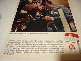 ANCIENNE PUBLICITE CIGARETTE LM 1969 - Tabac (objets Liés)