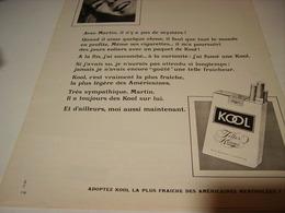 ANCIENNE PUBLICITE CIGARETTE KOOL 1969 - Tabac (objets Liés)