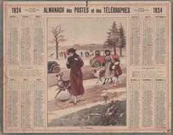 ALMANACH DES POSTES 1924 - FORMAT LIVRET CARTONNE SIMPLE - INCOMPLET - VERSO TABLEAU DES LEVERS ET COUCHERS. - Calendars