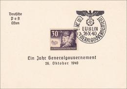 Generalgouvernement (GG):  Gedenkblatt 1 Jahr Generalgouvernement Lublin 1940 - Occupation 1938-45